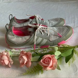 ADIDAS Women's White/Pink/Grey Sneakers - Size 7.5